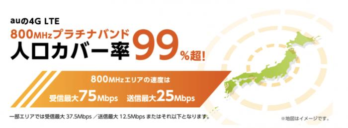 LTEオプション「au 4G LTE」は日本全国で繋がる