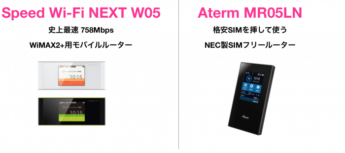 WiMAX2+とAterm MR05LNの項目別比較