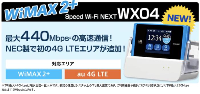 Speed Wi-Fi NEXT WX04の特徴