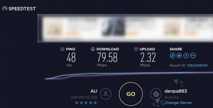 Speed Wi-Fi HOME L01sの実際の速度(有線接続)