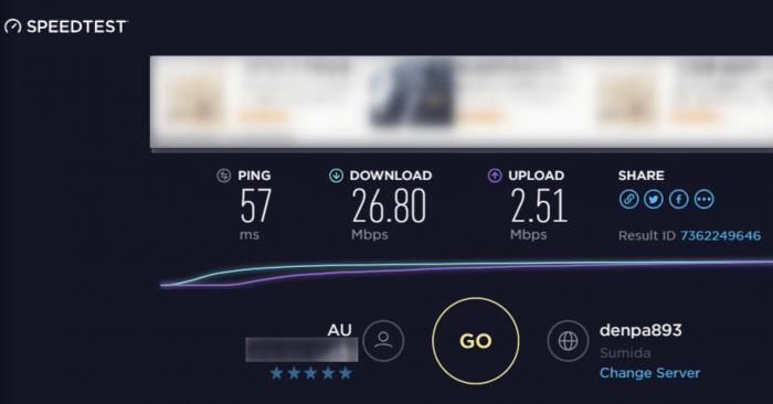 Speed Wi-Fi HOME L01sの実際の速度(無線接続)