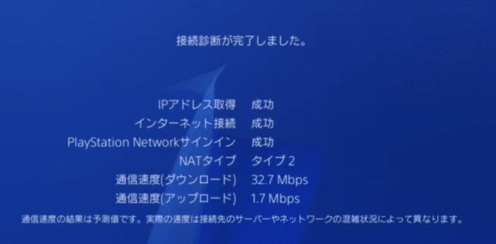 Speed Wi-Fi HOME L01sの速度測定結果(PS4・有線線接続A)
