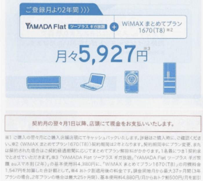 ヤマダ電機WiMAX キャッシュバック受け取り